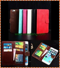 Luxury crocodile grain Many card slots insid wallet leather case for iPhone 6 6 plus