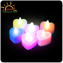 Best selling wedding flameless decoration led tea light heart shaped candle by china manufacturer with high quality