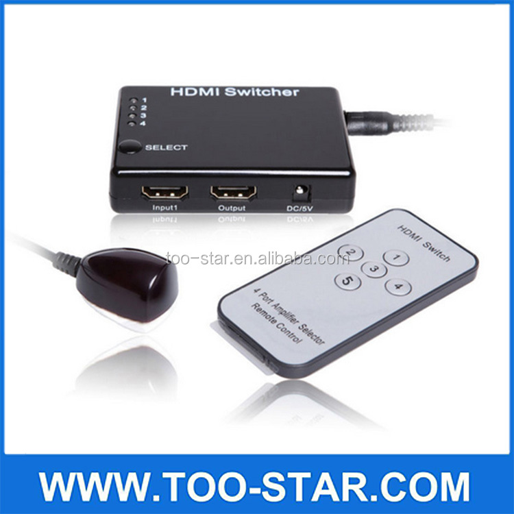 remote control 5 inputs to 1 output mini switcher Remote 3D 1080P HD Video Amplifier Switcher