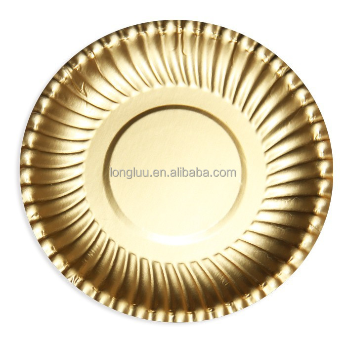 Birthday party disposable gold paper plates barbecue party party supplies environmental protection plate