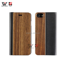 Flip Leather Solid Wood Case for iPhone 8 PU Leather Back Protective Cell Phone Holder Cover