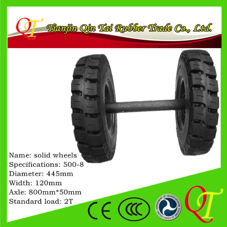 Custom handling equipment professional rubber solid <strong>wheel</strong> with axle 5.00-8 light
