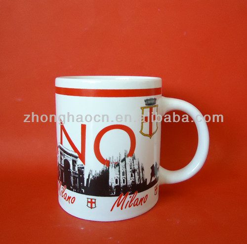 ZH4-0151 11oz Straight Shape Strengthen Porcelain Famous Building Decal Mug