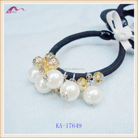 Fashion Design Beaded Elastic Hair Bands,Pearl Decorative Ponytail Holder