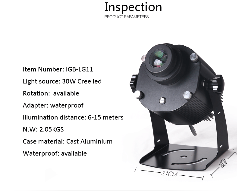 IP 65 30 w high definition outdoor customized led waterproof logo projector