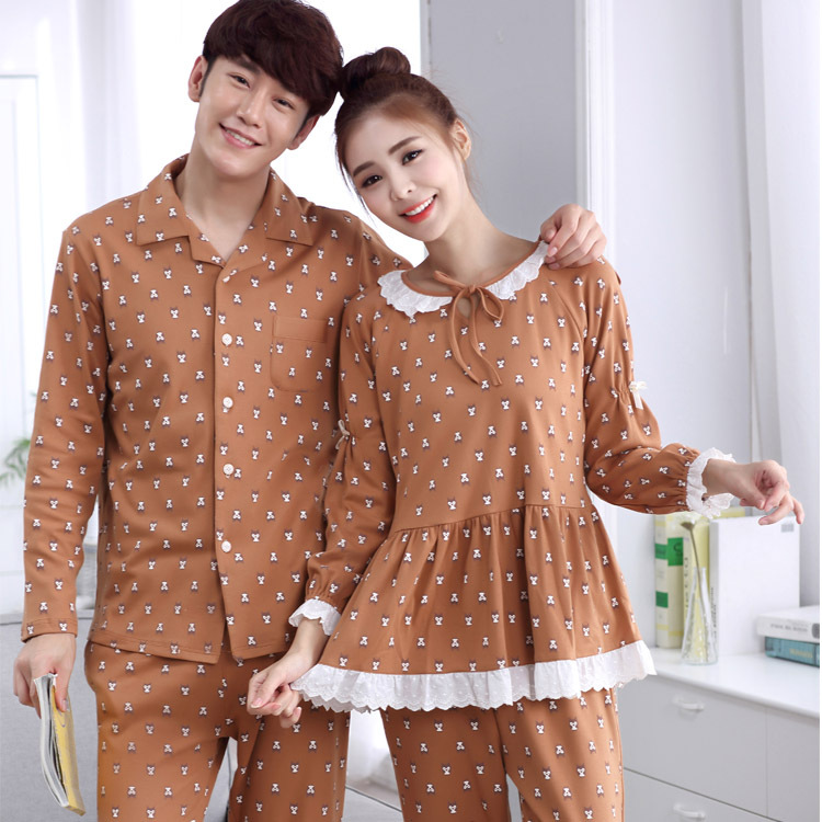 Chinese Import Wholesale Couple Cotton Long Sleeves Pajamas Sets
