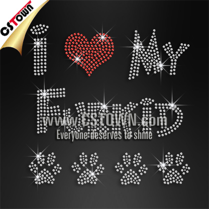 I love my furkid dog paw print wholesale iron-on rhinestone transfer