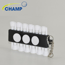 2017 Top Quality Plastic Golf Tees Ultra Durable Golf Ball Holder 12 golf tees with a key chain