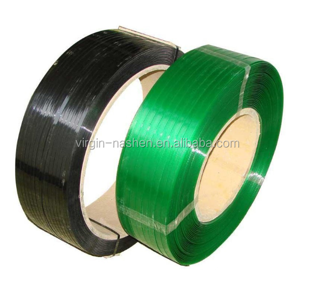 Green PET strap band plastic strap for band with Kraft paper core