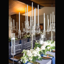wedding events wholesale decoration clear glass candelabra with hanging crystal