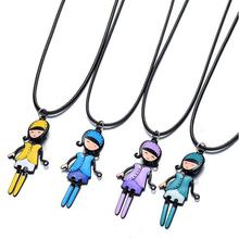 Coloful enameled baby doll pendant on thong, teenager school girl necklace cartoon doll shaped pendant 21""