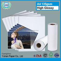 china A4 rolls 115gsm cast coated high glossy lumious smooth wholesale waterproof inkjet glossy photo paper 4x6 with OEM service