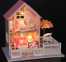 FQ brand 2017 new design miniature model assemble wooden diy wooden doll house for kid's education