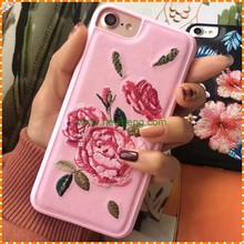 Beautiful Embroidery Rose Flower handmade Mobile Phone case for iphone 6/6s plus