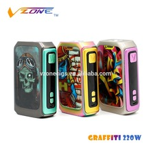Trade Assurance Vzone Graffiti 220w box mod 18650 variable wattage ecig chip machine