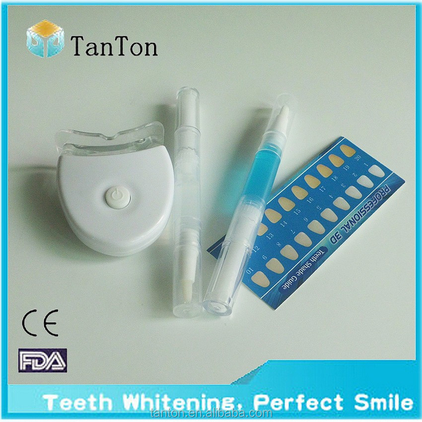 PROFESSIONAL TEETH WHITENING GEL PEN+UV LIGHT,LASER+SHADE GUIDE WHITE KIT