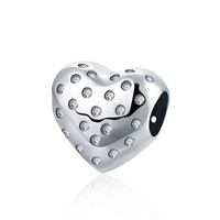 SJVP043 Multi AAA Cubic Zirconia Fashion 925 Sterling Silver Charming Delicate Hollow Heart Beads for Bracelet Size 1.2cm*1.2cm