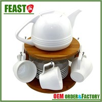 Supermarket White Ceramic Modern Teapot with cup Set
