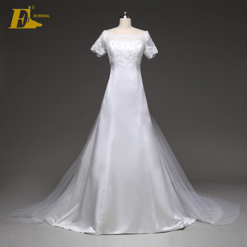 Royal Bateau Beaded appliqued Shirt Wedding Dresses Philippines with Lace Chapel Train