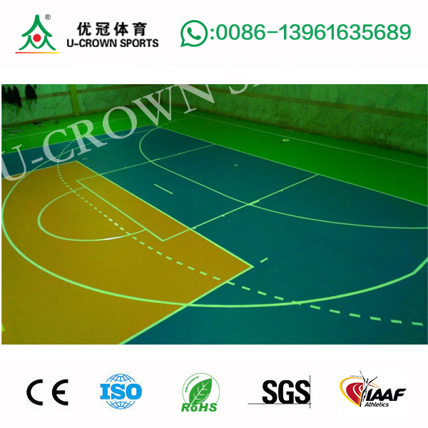 Plastic PU indoor basketball court price / used sport court flooring / floor for basketball court with high quality