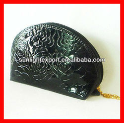 flower printed black pu leather cosmetic bag for men