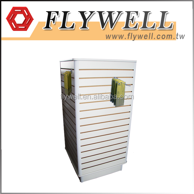 Retail Store Slat Wall Shelving With Wood Cube Base