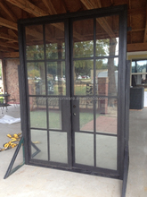 French Style Glass Door Wrought Iron Double Entry Door For Hotel