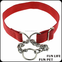 pet collars leashes nylon custom cheap dog manufacturer with metal chian