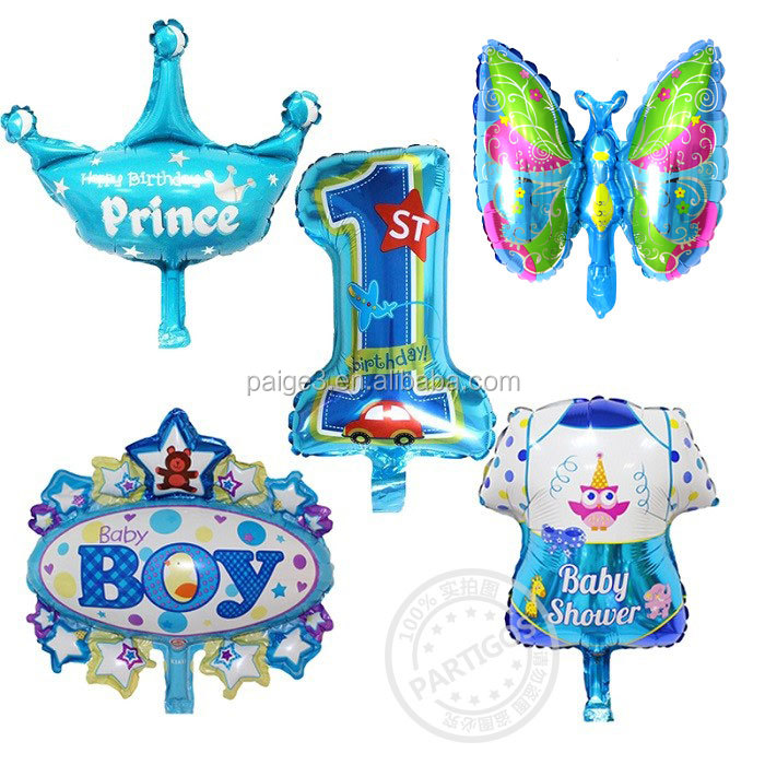 Partigos Mini Happy Birthday Princess Baby Girl Boy Bird Number 1 Pink Blue Foil Helium Balloons Baby Shower Toys Gifts