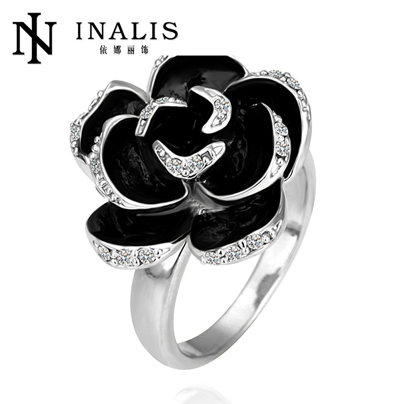 Fashion alloy 18k white gold plated ring