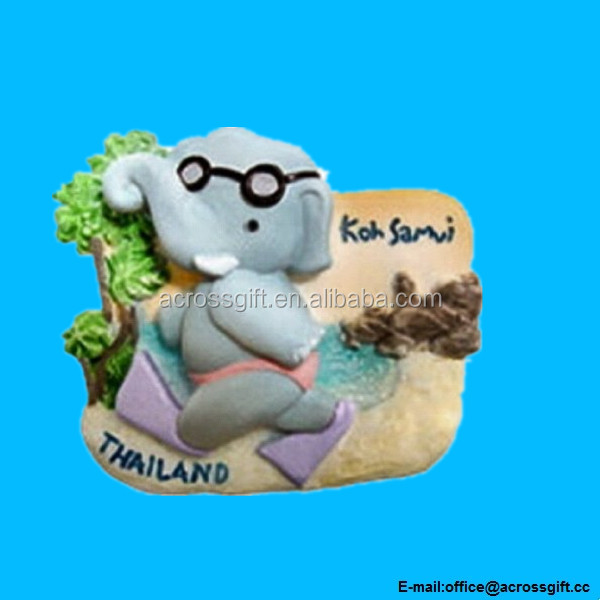 Cartoon Elephant Happy at Koh Samui Thailand Souvenir 3D Thai Magnet