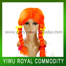 Festival Carnival Orange Synthetic Braid Party Wig