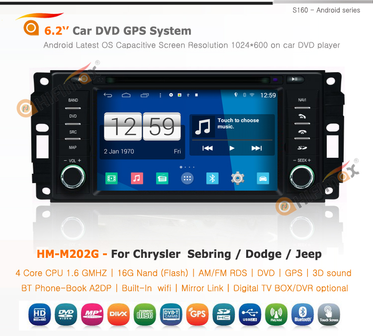 HIFIMAX S160 Series For Chrysler Sebring / Jeep/Dodge Touch Screen Car Radio With GPS