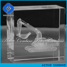 custom logo excellent staff souvenirs gifts small backhoe 3d crystal engraved