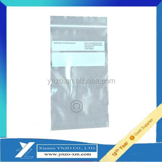 Ziplock bag with blank white printing for writing