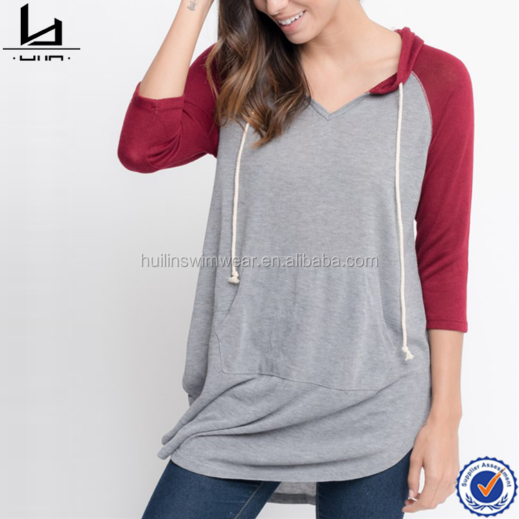 Custom made raglan contrast sleeve hoodie women cheap bulk blank cotton hoody