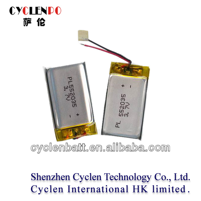 Factory price cyclenpo PL 552035 rechargeable digital lithium polymer battery 3.7v for motor cycle battery