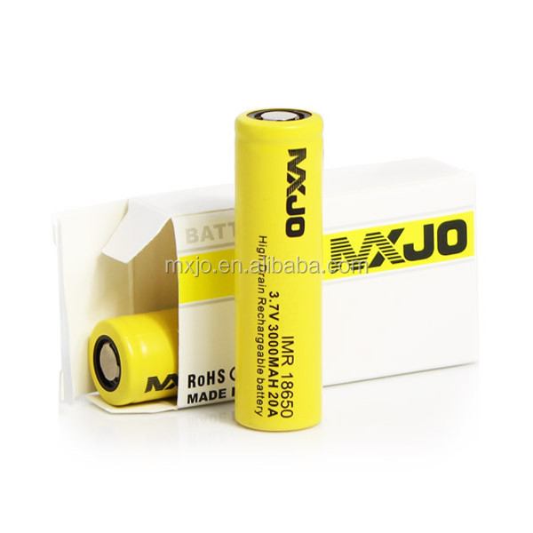 MXJO 18650 3000 mah battery e-cigarette ego IMR 20A 3000mah ni-mh rechargeable battery