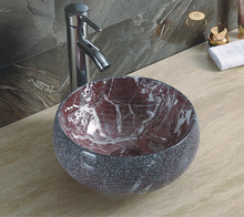 YJ483 Ceramic sanitary ware marble sink stone color wash basin