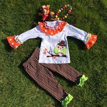 The Halloween kids girls The owl print OUTFITS pant sets girls boutique clothes kids sets with matching accessories