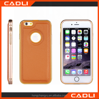 2016 fashion leather mobile phone case with aluminum metal bumper frame for iPhone 5 SE