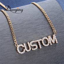 Full Crystal Personalized Name <strong>Necklace</strong> with Zircon stone Custom Nameplate Chains Choker <strong>Necklace</strong> for Women