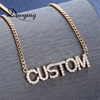 Full Crystal Personalized Name Necklace with Zircon stone Custom Nameplate Chains Choker Necklace for Women