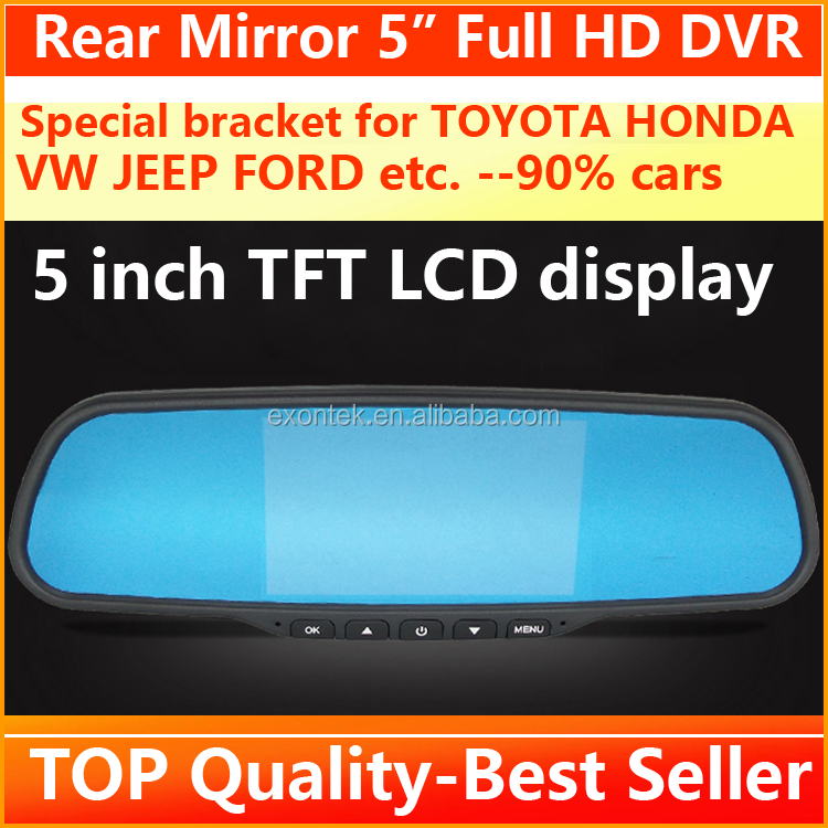 2017 new arrival rearview mirror vehicle blackbox dvr double lens mirror car camera recorder
