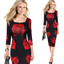 Parijs OL winter mode elegante lange rode rose prints bodycon strakke potlood cusual feestjurken