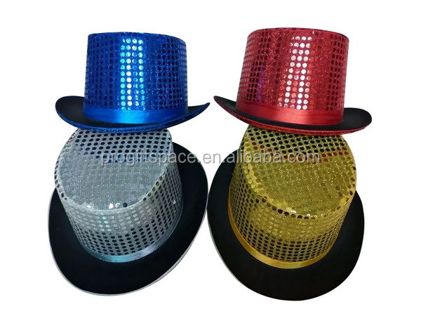 2017 new fashion products four color wool felt slash top hat magic hat with sequin for magician party carnival made in china