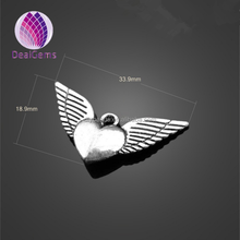 Diy jewelry making silver color alloy heart wings charm