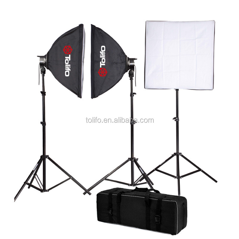 Tolifo 600W tripod softbox 3 studio flash lighting kit for photo
