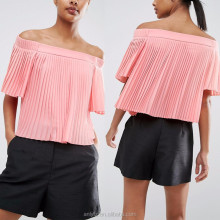 wholesale cheap off shoulder short sleeve pleated chiffon tops in pink for young women clothing