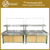 Double Layers Stainless Steel and Wood Supermarket fruit and vegetable display Rack